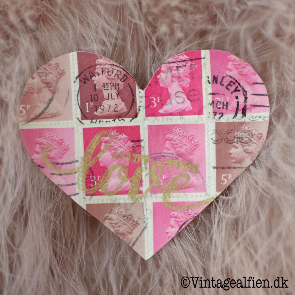 Engelske frimærker er brugt til decoupagehjertet