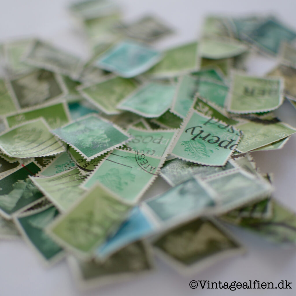 Grønne frimærker før decoupage
