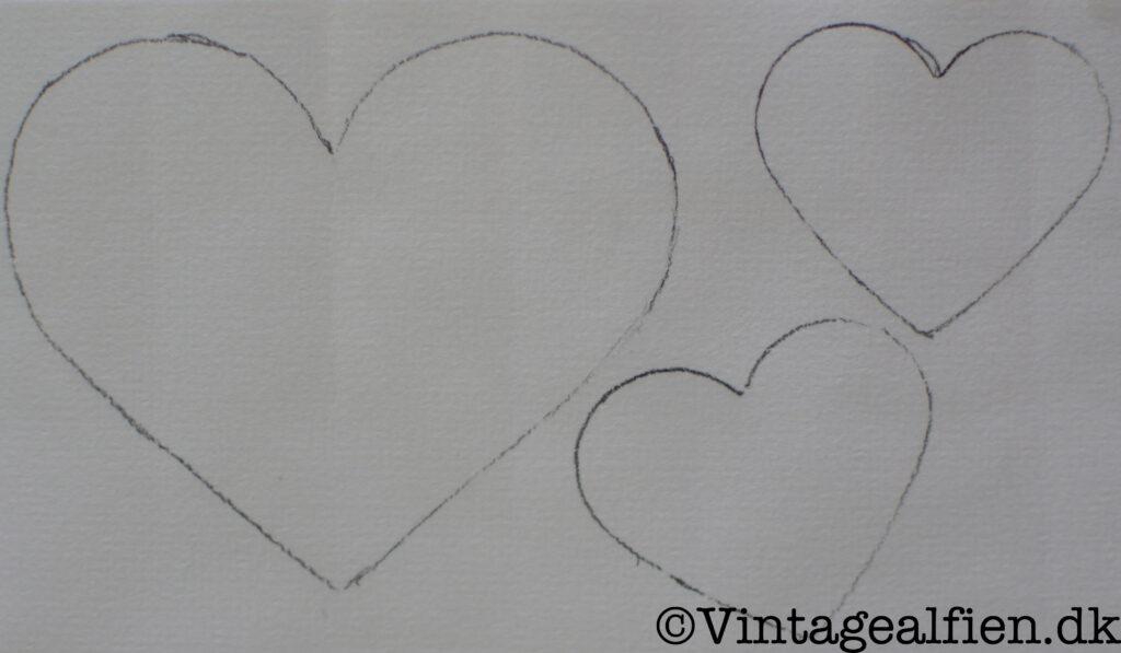 Hjerter til decoupage med frimærker
