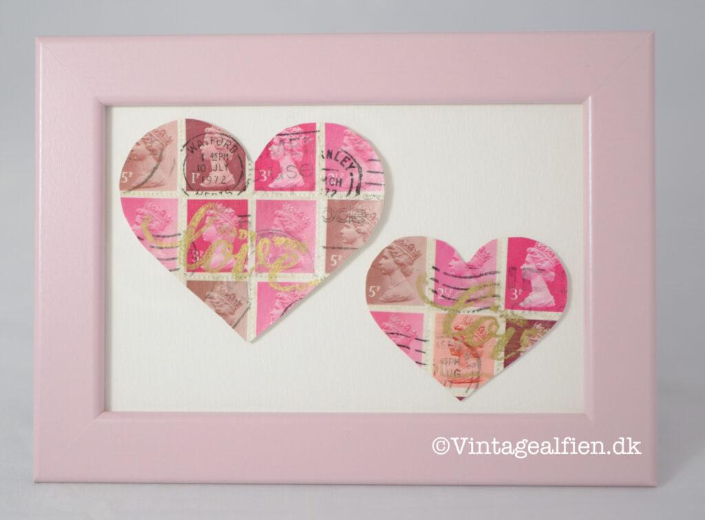 Barselsgave - ti hjerter i frimærkedecoupage