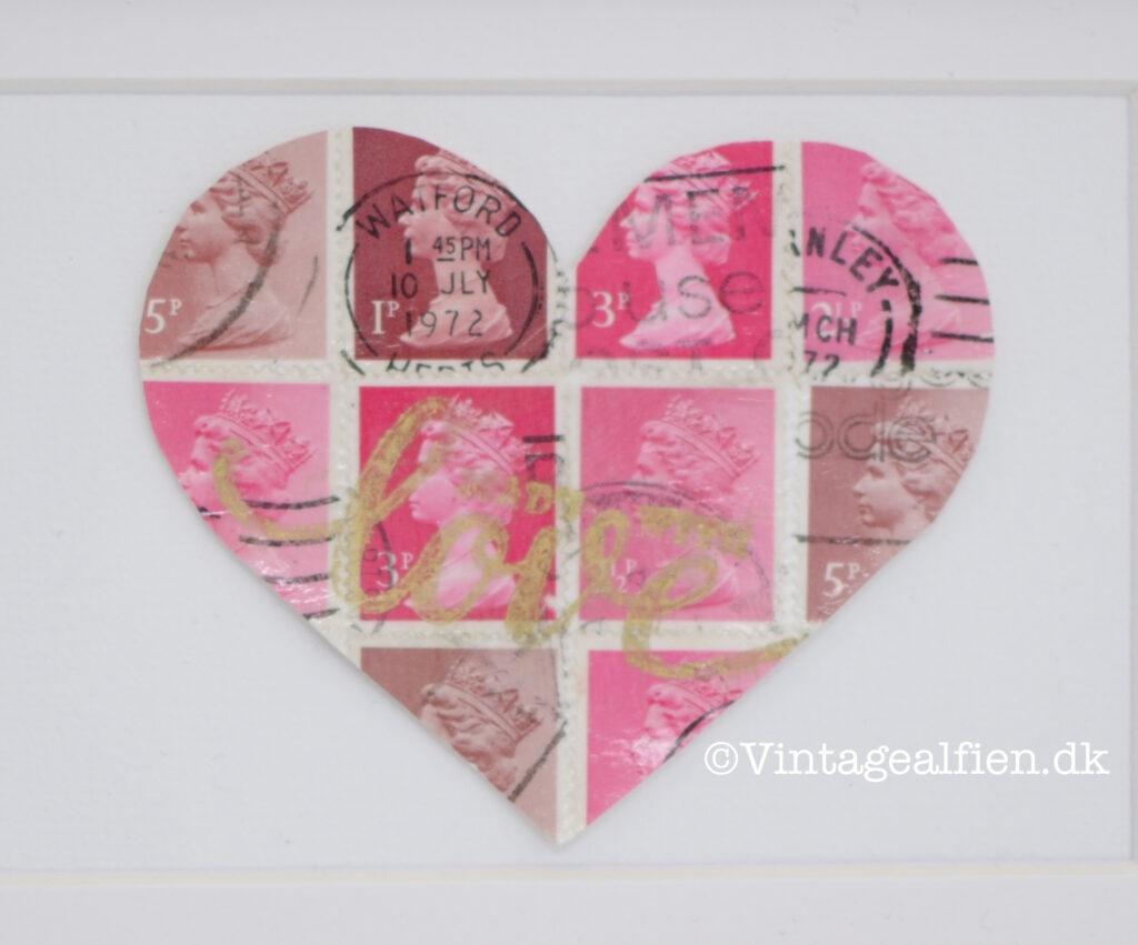 Decoupage af frimærker her er det et hjerte