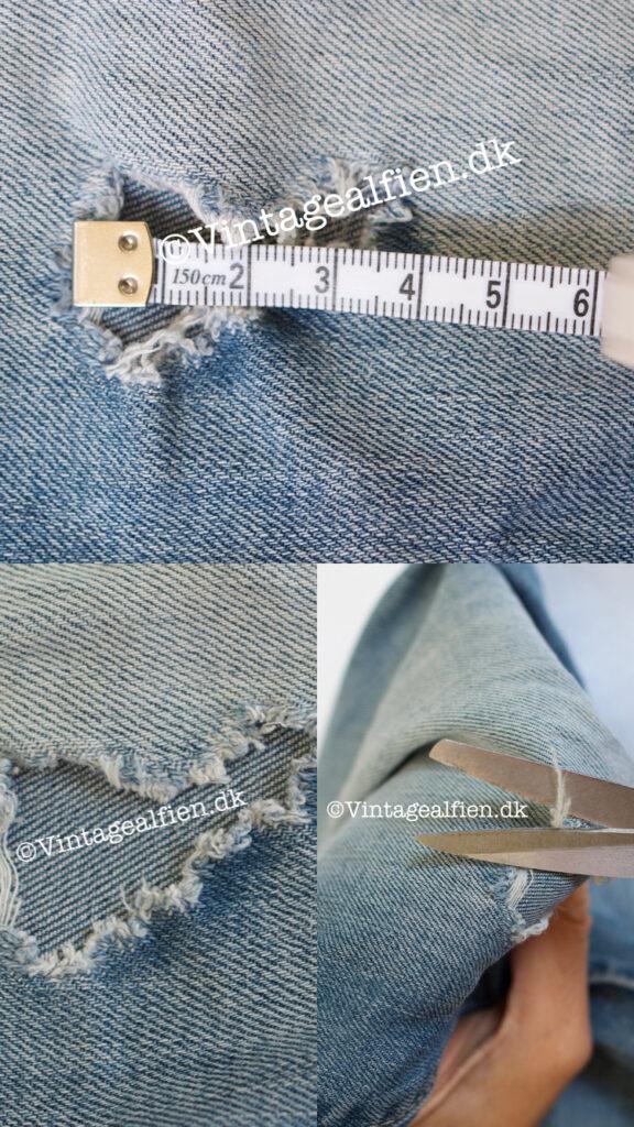 De hullede cowboybukser gøres klar til en gang visible mending